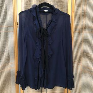 Foley & Corinna Navy Blouse with Black Detail